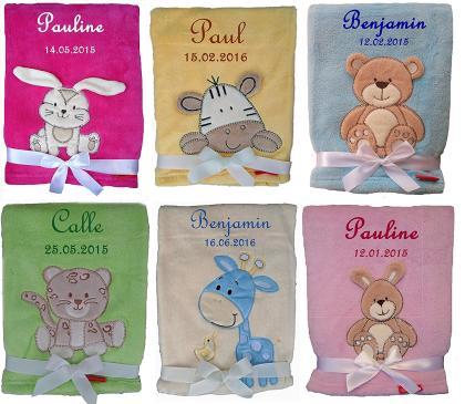 Die kuschlige Babydecke mit Namen und Geburtsdatum bestellen