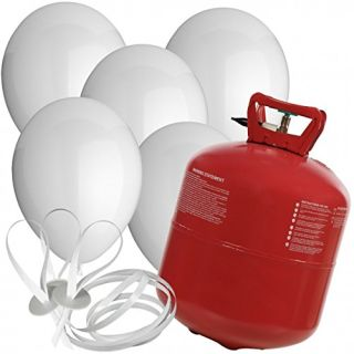 Komplettset aus 60 weißen Luftrballons und Heliumgasflasche kaufen