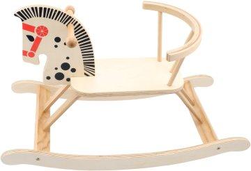 Das schöne Holz-Schaukelpferd mit Rückenlehne kaufen