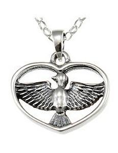 Kette und Vogel-Herz-Anhänger aus Sterling-Silber kaufen