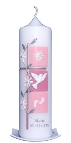 Diese schöne rosa Taufkerze für das Mädchen kaufen