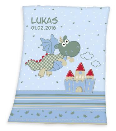 Taufgeschenk - Weiche Babydecke mit dem Namen des Kindes bestellen