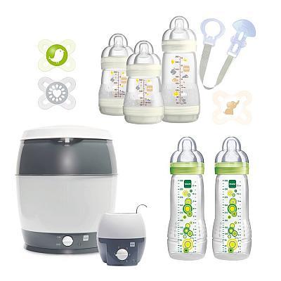 Das Premium-Erstausssattungs-Flaschen-Set mit Sterilisator und Flaschenwärmer von MAM bestellen