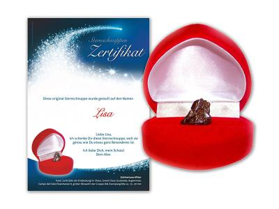 Eine echte Sternschnuppe in roter Geschenkbox mit Zertifikat bestellen