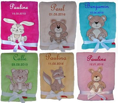 Die kuschlige Babydecke bestickt mit Namen und Datum bestellen