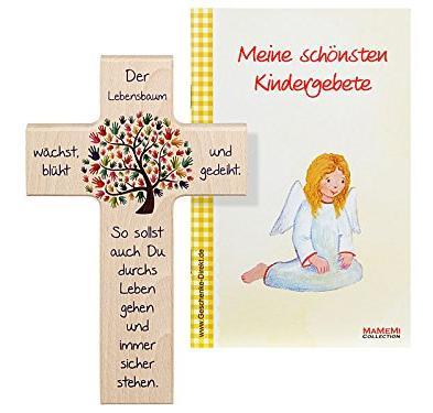 Das Kinder-Holzkreuz LEBENSBAUM mit Gebetsbüchlein bestellen