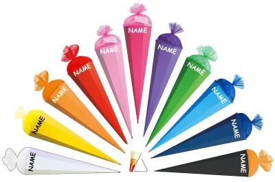 Die Schultüte mit Wunschnamen - auch zum Bekleben und Basteln - bestellen