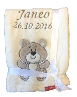Die Babydecke, bestickt mit Namen und Geburtsdatum, bestellen