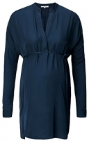 Noppies Damen Regular Fit Umstands Tunika Tunic wvn ls Gia, Gr. 38 (Herstellergröße: M), Blau (Dark Blue C165)